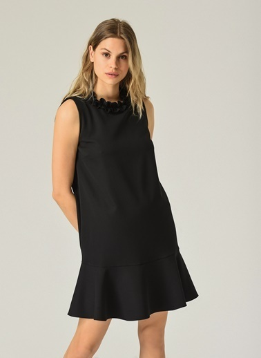 People By Fabrika Kadın Yaka Detaylı Kolsuz Elbise PFKSS21EL0067 Siyah